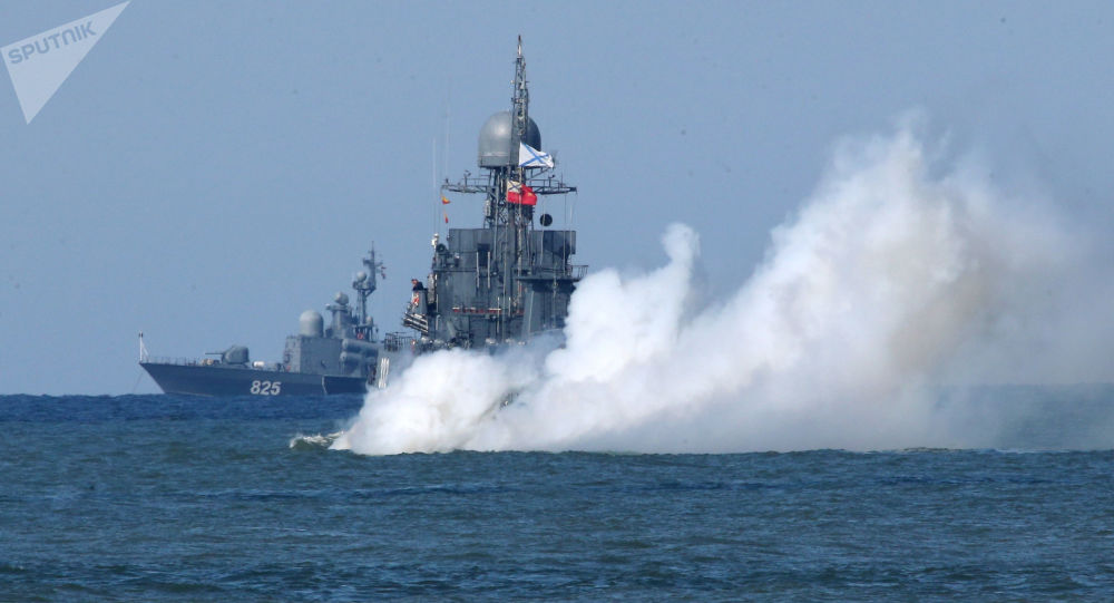 Lodě ruské Baltské flotily během cvičení Západ 2017