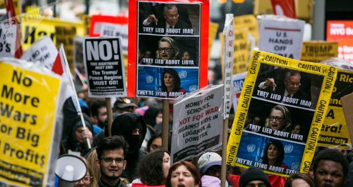 Protestní akce proti útoku na Sýrii v New Yorku