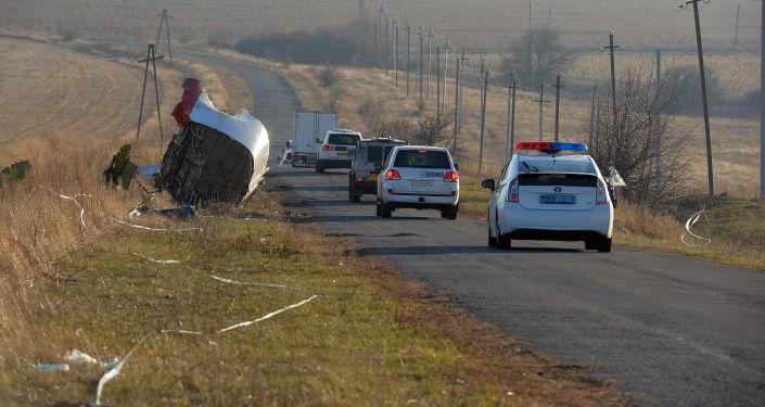 Vozy OBSE na místě havárie Boeingu 777