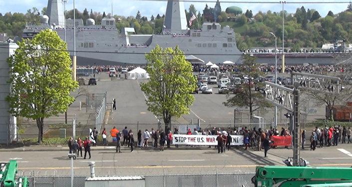 V americkém Portlandu proběhla protiválečná demonstrace