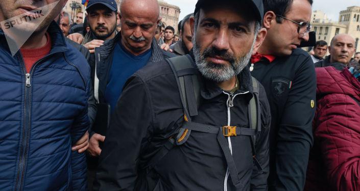 Lídr arménské opozice Nikola Pašiňan