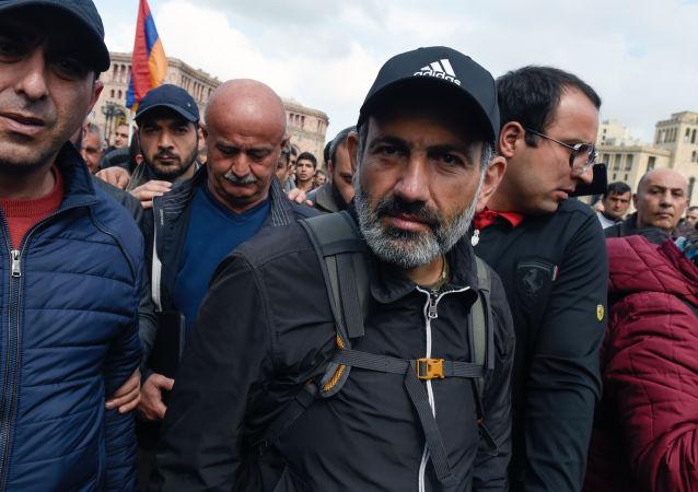 Lídr arménské opozice Nikola Pašiňan. Ilustrační foto