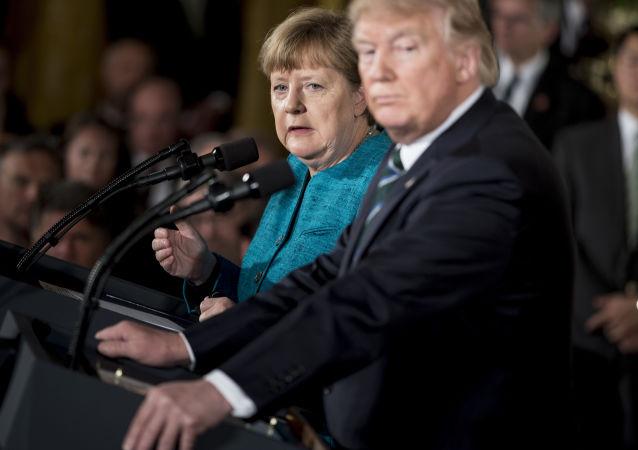 Německá kancléřka Angela Merkelová a prezident USA Donald Trump