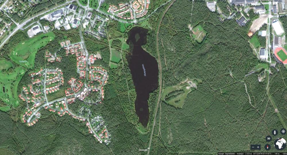 Finské jezero se siluetou Donalda Trumpa