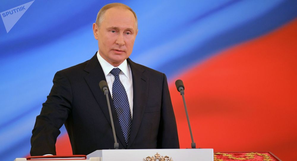 Vladimir Putin během inaugurace 7. května 2018.