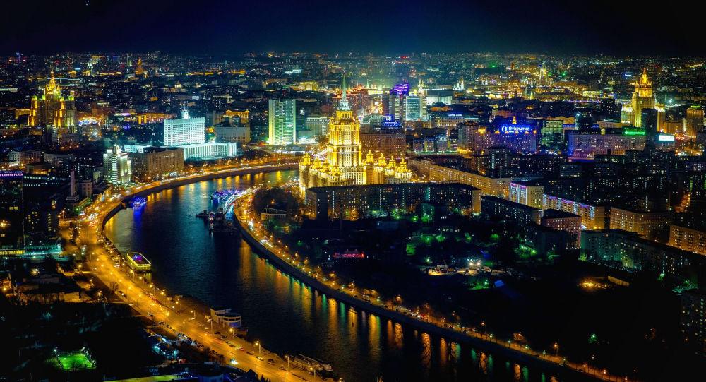 Výhled na noční Moskvu