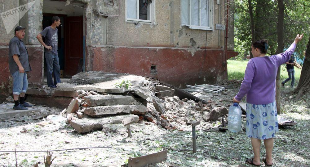 Následky ostřelování Donbasu ukrajinskými vojáky