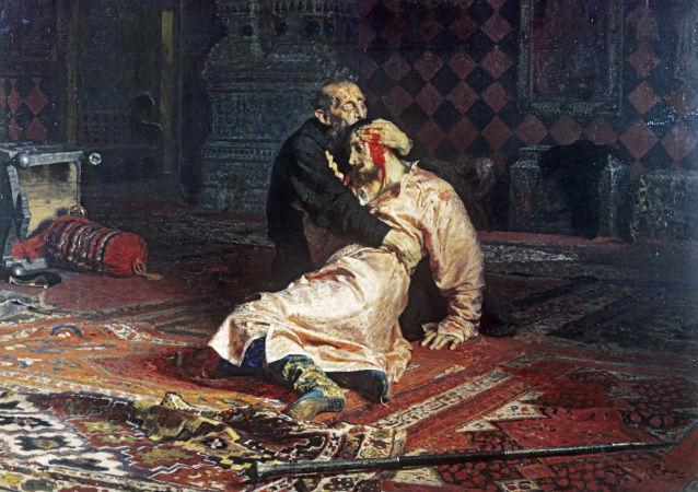 Obraz ruského malíře Ilji Repina Ivan Hrozný a jeho syn Ivan 16. listopadu 1581