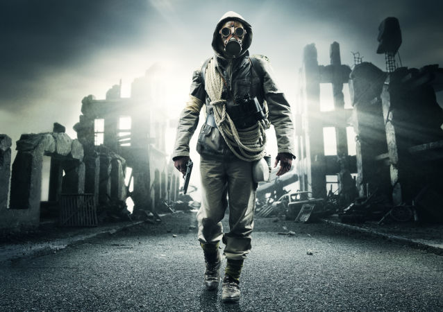 Člověk na pozadí apokalypsy. Illustrační foto
