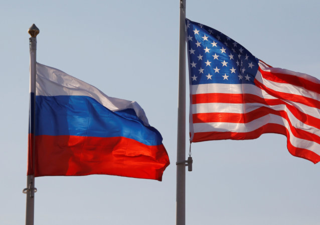 National flags of Russia and the US