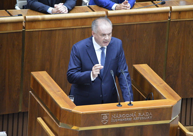 Slovenský prezident Andrej Kiska vystupuje v parlamentu