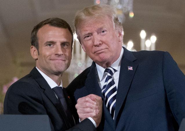 americký prezident Donalda Trump a francouzského prezident Emmanuel Macron