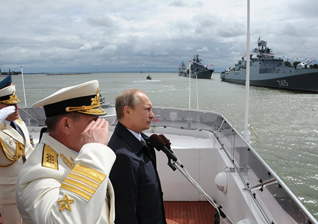 Ruský prezident Vladimir Putin během oslav Dne námořnictva