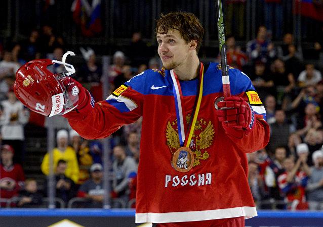 Artěmij Panarin při MS v hokeji 2017