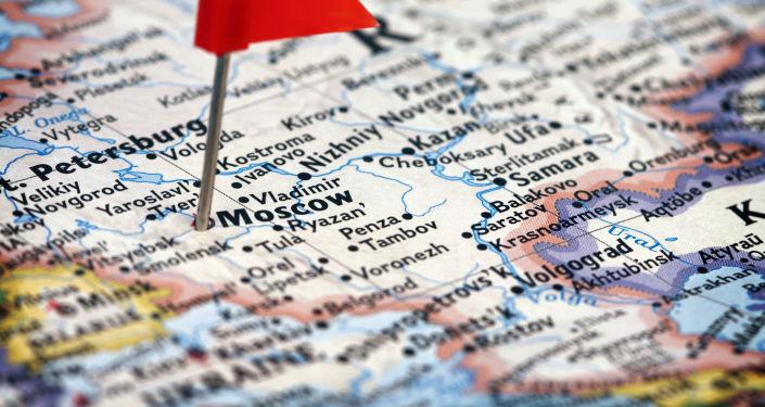 Mapa Ruska a vyznačená Moskva