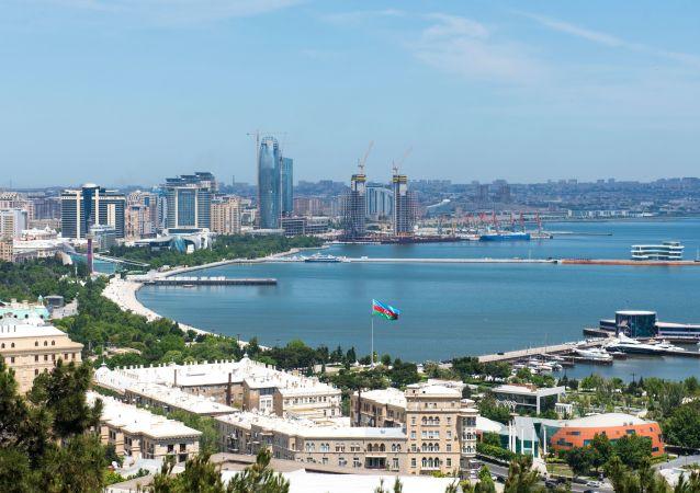 Baku, Ázerbájdžán. Pobřeží Kaspického moře
