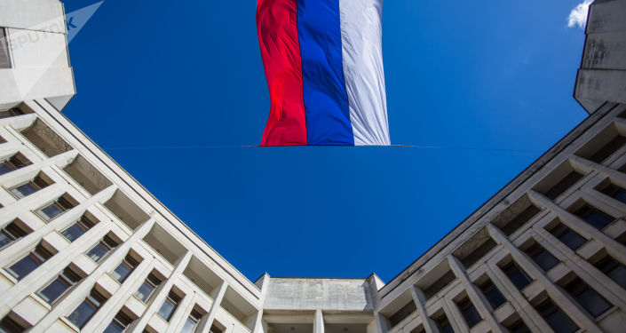 Ruská vlajka v Simferopolu