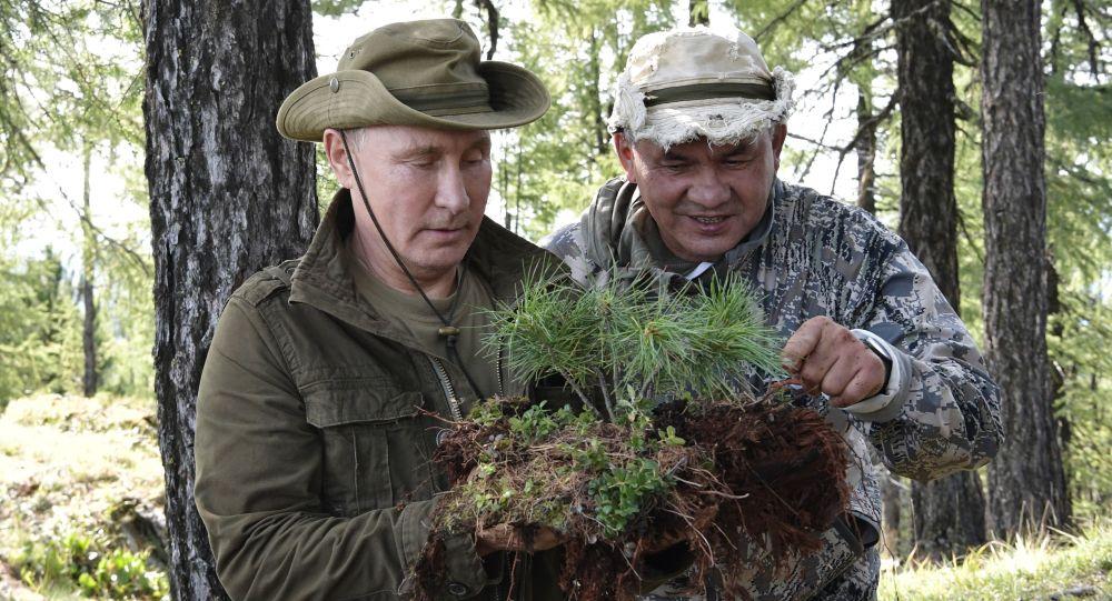 Ruský prezident Vladimir Putin a ministr obrany Sergej Šojgu