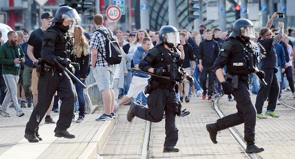 Demonstrace v Chemnitzu. Ilustrační foto