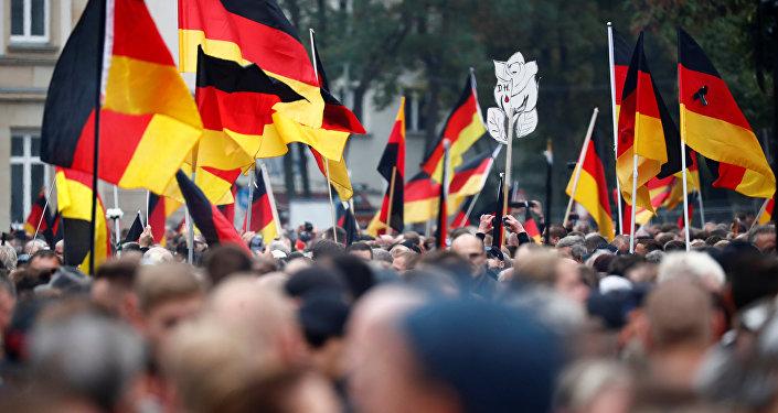 Demonstrace v Chemnitzu, 1. září 2018.