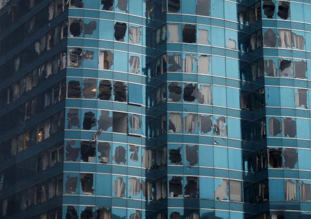 Budovy poškozené tajfunem Mangkhut v Číně