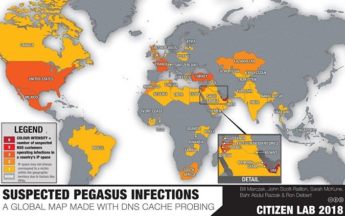 Mapa zemí, kde byl odhalen program Pegasus