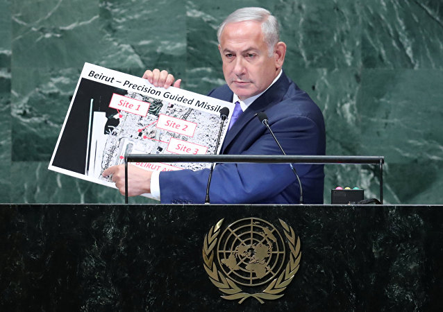Israeli Prime Minister Benjamin Netanyahu addresses the 73rd session of the United Nations General Assembly at U.N. headquarters in New York