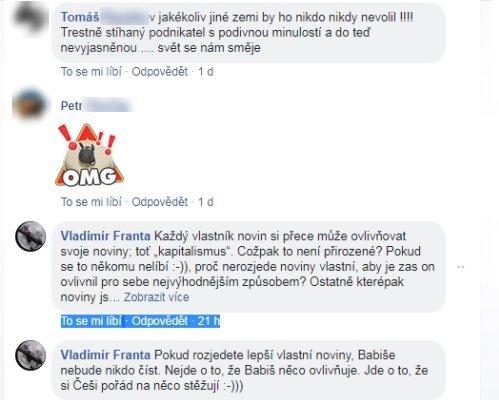 """Obr. 2: Aneb lidé """"neovlivnění"""" názory herečky nebo osoby, která se za ní na Facebooku vydává… Jde o názornou ukázku, jak se Facebook """"vměšuje"""" do vnitřních záležitostí národního státu, jak ohýbá myšlení lidí, jak je tvaruje? Myslíte, že to tak není? Je to přehnané tvrdit? Andrej Babiš nebyl soudně usvědčen, proč by měl odstupovat? Platí u nás presumpce neviny? Nebo jsme vinni tím, že jsme?"""