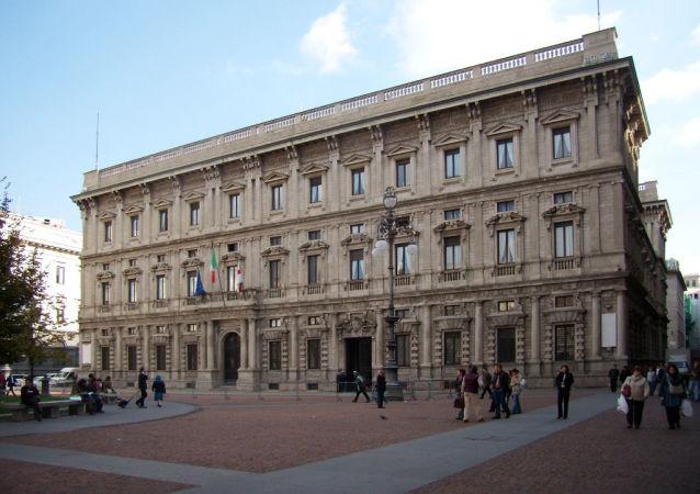 Paláce Palazzo Marino v Miláně, Itálie
