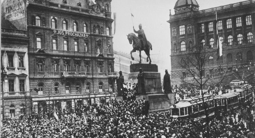 Václavské náměstí v Praze 28. října 1918