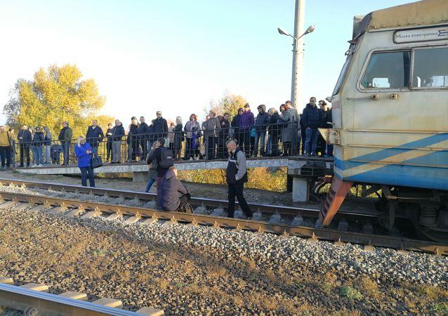 Zablokovaný vlak v Kyjevě