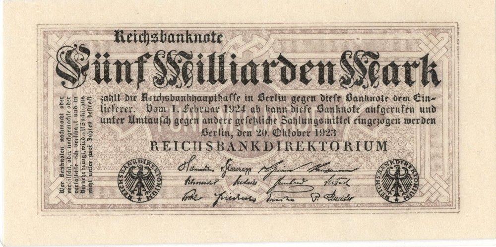 Obrázek 1: Německá poválečná hyperinflační bankovka vydaná Říšskou bankou roku 1923. Mohli jste si za ni tenkrát koupit například nějakých 15 vajec! Byla potištěná jen z jedné strany.  Její nominál byl 5 000 000 000 (miliard) marek. Tyto bankovky se hodily leda na vytapetování pokoje...