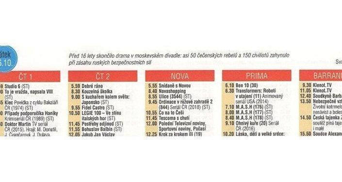 Detail stránky z časopisu Vlasta s TV programem od 22. 10. – 28. 10.