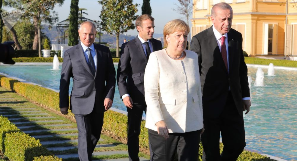 Putin, Erdogan, Merkelová a Macron na jednáních v Turecku