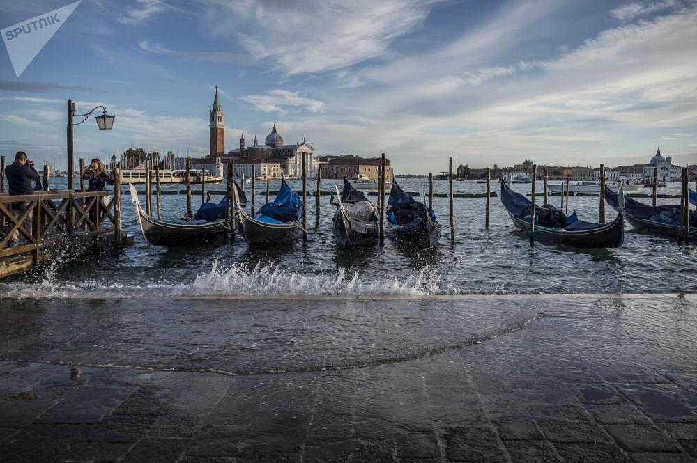 Zatopené nábřeží v Benátkách