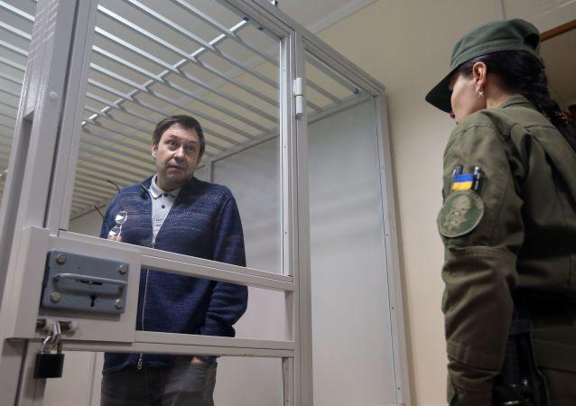 Šéf zpravodajského portálu RIA Novosti Ukrajina Kirill Vyšinský na jednání v odvolacím soudě