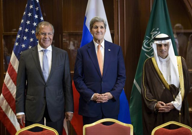 Sergej Lavrov, John Kerry a Adel al-Jubeir
