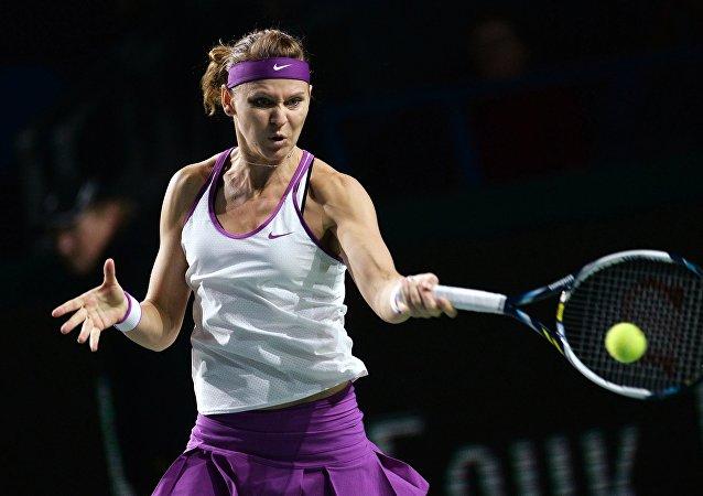 Tenistka Lucie Šafářová na turnaji v Moskvě. 2015