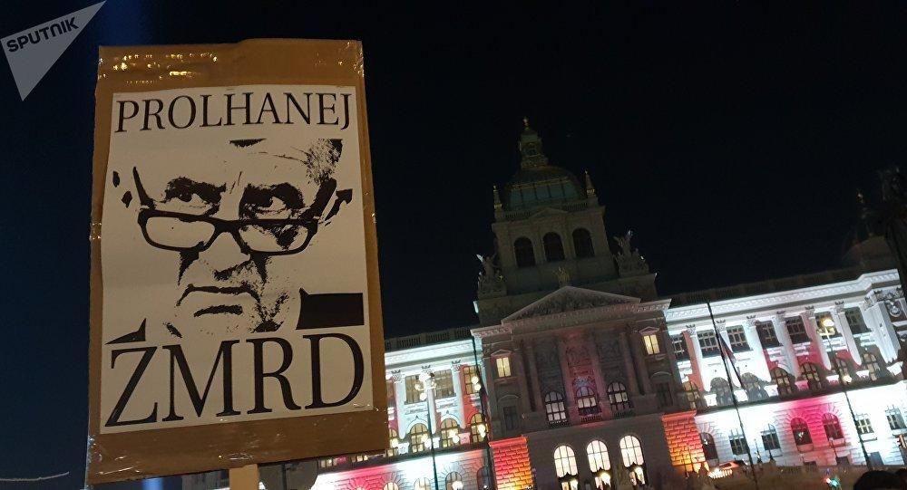 Demonstrace na Václavském náměstí proti Babišovi