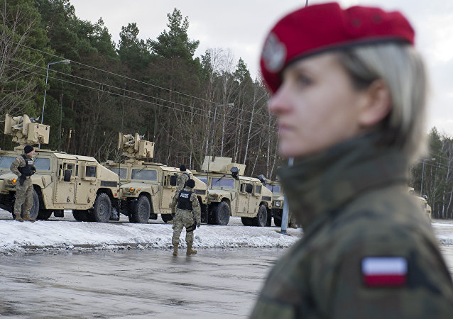 American soldiers are pictured during a welcome ceremony at the Polish-German border in Olszyna, Poland on January 12, 2017