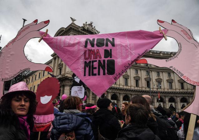 Mezinárodní den proti násilí na ženách. Demonstrace v Římě, listopad 2018
