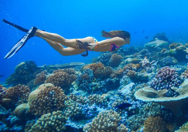 Dívka při potápění v oceánu. Ilustrační foto