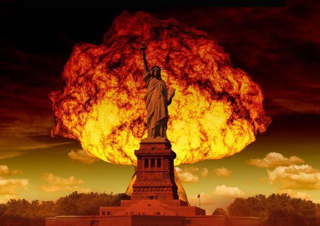 Jaderná exploze na pozadí sochy svobody v New Yorku