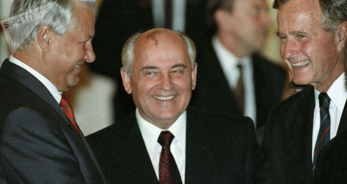 Boris Jelcin, Michail Gorbačov a George Bush