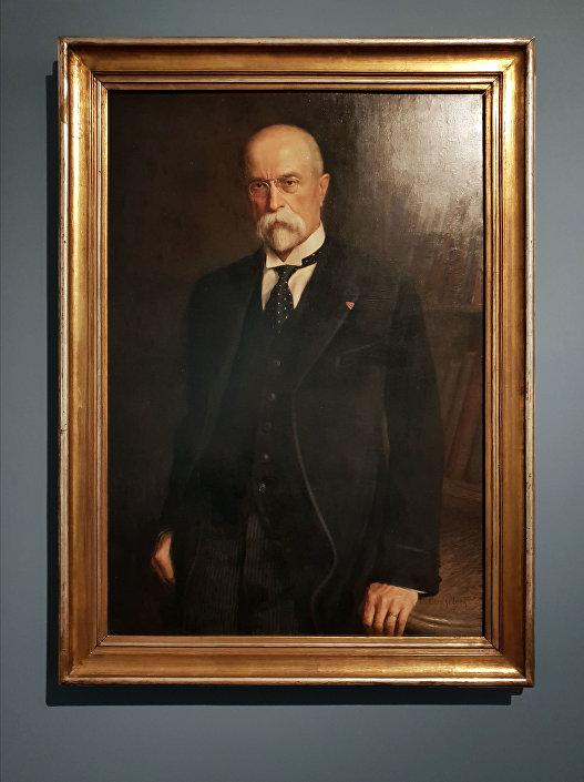 Intelektuální portrét prvního čs. prezidenta Tomáše G. Masaryka z ruky Otto Peterse.