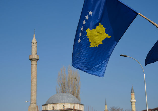 Vlajka Kosova v Prištině