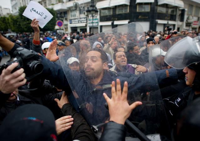 Protestní akce v Tunisu