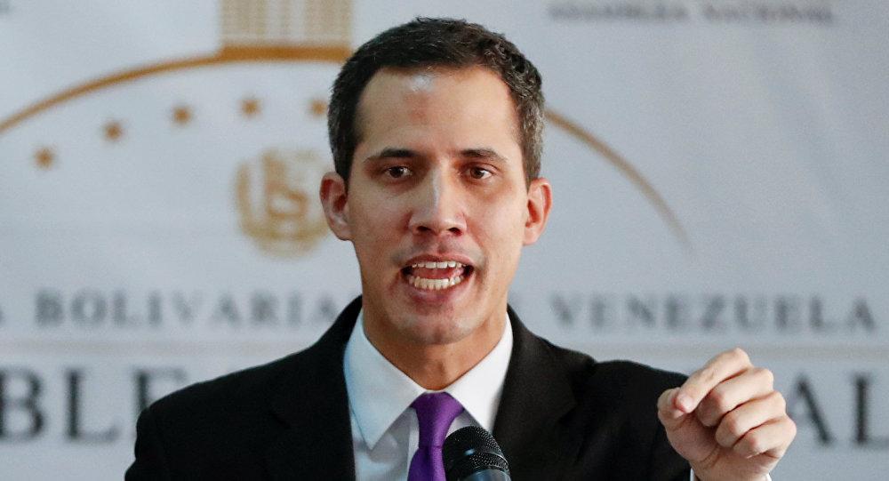 Juan Guaidó, presidente da Assembleia Nacional da Venezuela, falando durante conferência em Caracas, Venezuela, 10 de janeiro de 2019