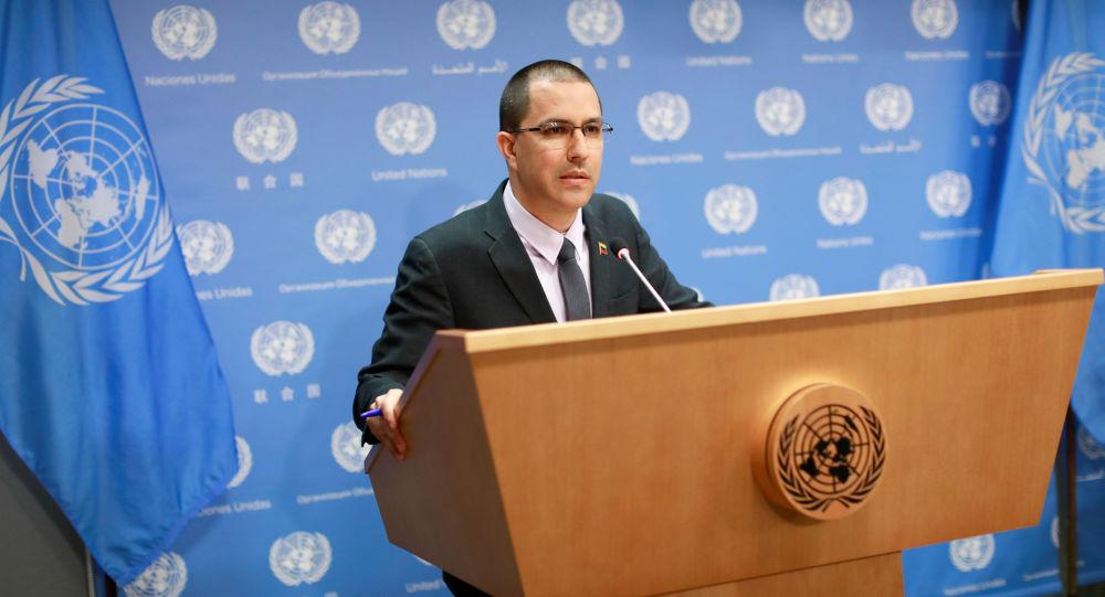 Venezuelský ministr zahraničí Jorge Arreaza v sídle OSN v New Yorku