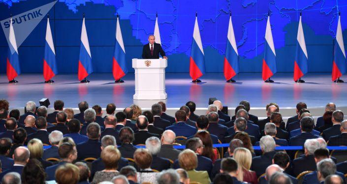 Ruský prezident Vladimir Putin vystupuje před Federálním shromážděním RF